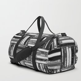 Music Cassette Stacks - Black and White - Something Nostalgic IV #decor #society6 #buyart Duffle Bag