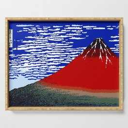 Colorful Fine Wind, Clear Morning Mount Fuji Japan Serving Tray