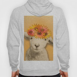 Daisies Sheep Girl Portrait, Mustard Yellow Texturized Background Hoody