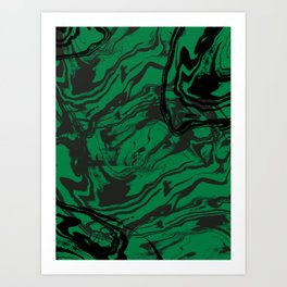 Suminagashi marble malachite green marbled pattern spilled ink abstract art Art Print