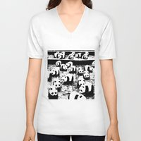 animal crew V-neck T-shirts featuring Crew by Panda Cool