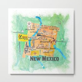 USA New Mexico State Illustrated Travel Poster Favorite Map Metal Print