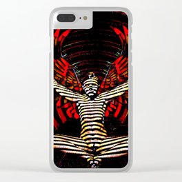 0395s-PDJ Sensual Angel with Red Wings Woman Empowered as Succubus Clear iPhone Case