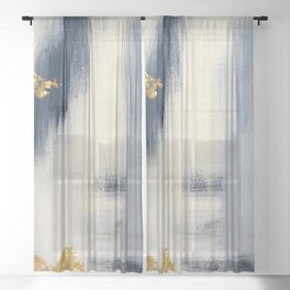 Blue and Gold Ikat Abstract Pattern #2 Sheer Curtain