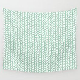 Knit Wave Mint Wall Tapestry