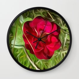Evelyn's Red Rose Wall Clock