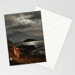The Bay of Naples and Mount Vesuvius in the Moonlight by Oswald Achenbach Stationery Cards