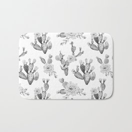 Cactus Rose Garden Black and White Bath Mat