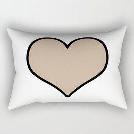 Pantone Hazelnut Heart Shape with Black Border Digital Illustration, Minimal Art Rectangular Pillow