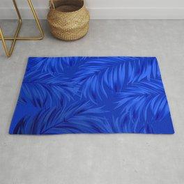 Palm Tree Fronds Brilliant Blue on Blue Hawaii Tropical Décor Rug