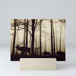 Forest night deer Mini Art Print