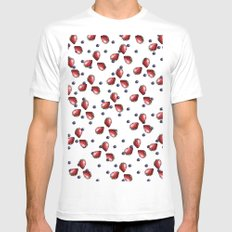 Berry Fields White MEDIUM Mens Fitted Tee