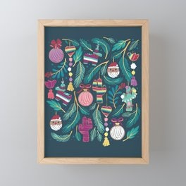 Mexican Christmas Tree // blue background green and aqua pine leaves multicoloured holiday decorations pan dulce balls cacti hearts birds pom-pom garland pinatas santa claus conchas donuts Framed Mini Art Print
