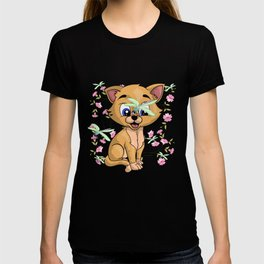 Cat And Dragonfly T-shirt