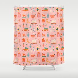 Vintage Christmas in pink Shower Curtain