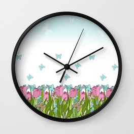 Pink tulips . Spring. Wall Clock