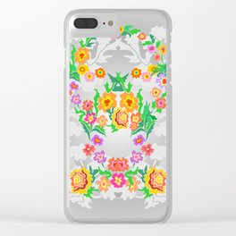 Wreaths from abstract flowers on floral background Clear iPhone Case