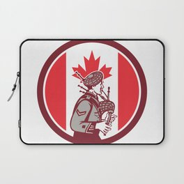 Canadian Bagpiper Canada Flag Icon Laptop Sleeve