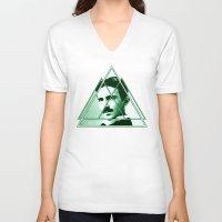 tesla V-neck T-shirts featuring Tri-Tesla by Rad Recorder