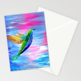 Hummingbird, Boho animal painting of a hummingbird with bright colors Stationery Cards