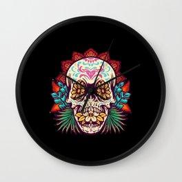 Dia De Muerto Summer Skull Wall Clock