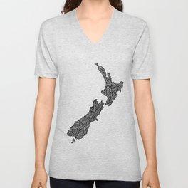 New Zealand Map Unisex V-Neck
