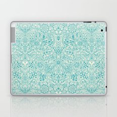 Detailed Floral Pattern in Teal and Cream Laptop & iPad Skin