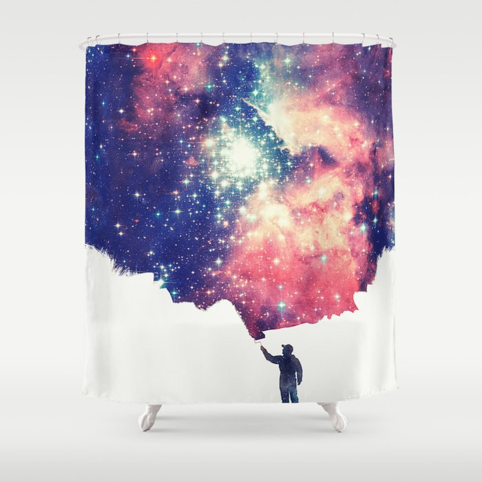 Painting The Universe Colorful Negative Space Art Shower Curtain