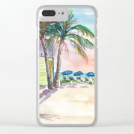 Caribbean Surf Beach Bar Boards and Sunset Clear iPhone Case