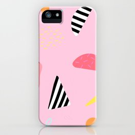 Pop art modern collage abstract terrazzo pink pattern iPhone Case