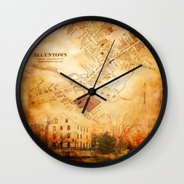 Allentown, New Jersey Map and Mill by Ericka O'Rourke Wall Clock