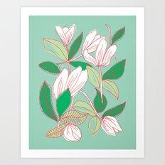Floating Tulips (mint green) Art Print
