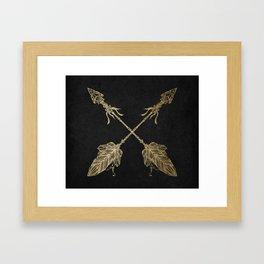 Gold Arrows on Black Framed Art Print