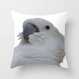 Ruffled Feathers Of A Blue Eyed Cockatoo Isolated Throw Pillow