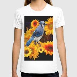 DECORATIVE BLUE JAY YELLOW SUNFLOWERS BLACK ART T-shirt