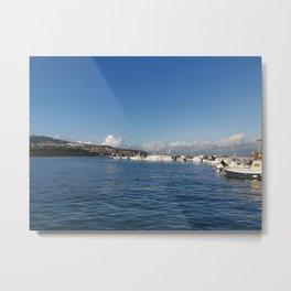 fishing pier, fishing boats, clouds, sea, sky Metal Print