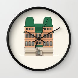 Brick house with towers Wall Clock
