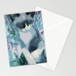 Nestled Kitten in Comforter Cloud Stationery Cards