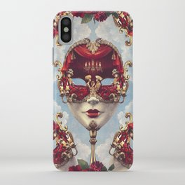 Floral Decadence - Red & Gold Venetian Mask iPhone Case