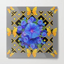 Golden Butterflies Blue Floral Grey Art Metal Print