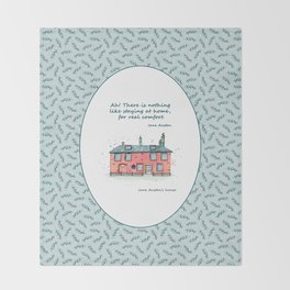 Jane Austen house and quote Throw Blanket