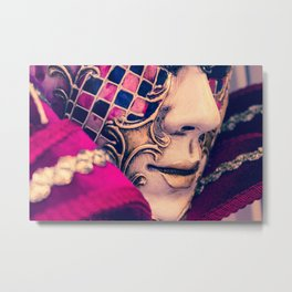 Close-up of a Venetian carnival mask with black and blue feathers. Metal Print