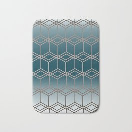 Blue geometric pattern Bath Mat