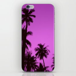 Tropical palm trees on blue pink iPhone Skin