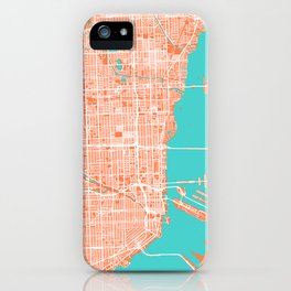 Miami Map | Coral & Turquoise | More Colors, Review My Collections iPhone Case