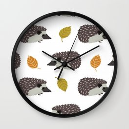Porcupines, Fall Autumn Leaves Wall Clock