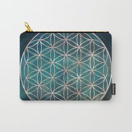 Mandala Flower of Life Rose Gold Space Stars Carry-All Pouch