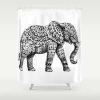 ornate elephant Shower Curtains featuring Ornate Elephant 3.0 by BIOWORKZ