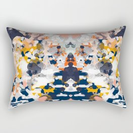 Stella - Abstract painting in modern fresh colors navy, orange, pink, cream, white, and gold Rectangular Pillow