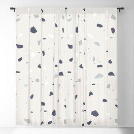 Midnight Navy Gray Creme Terrazzo #1 #decor #art #society6 Blackout Curtain